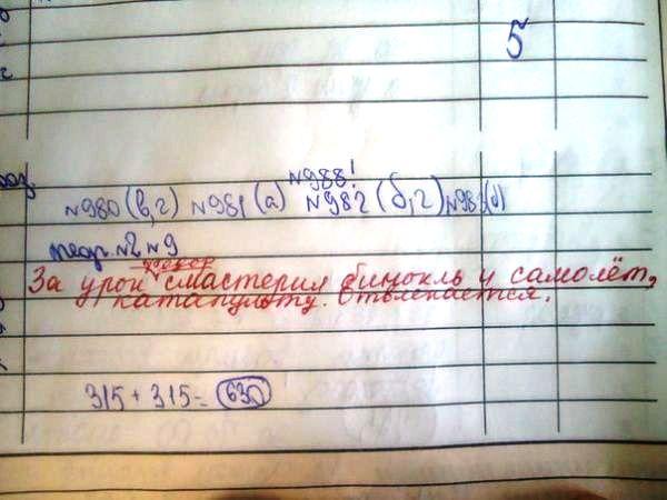 Смешные записи в школьных дневниках 5